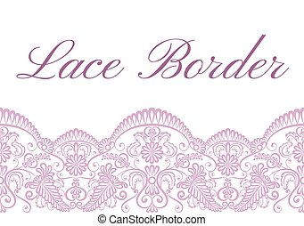 Wedding card with pink lace border on white background