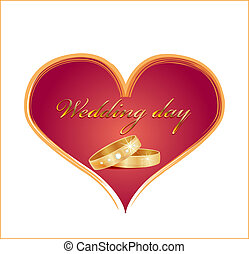 wedding card with rings and red heart