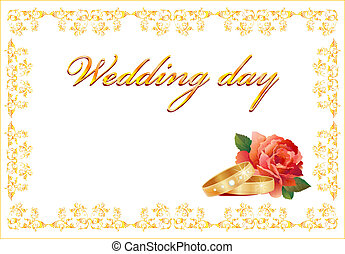 wedding card with rings and red rose