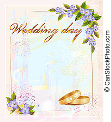 wedding card  with  rings and violets