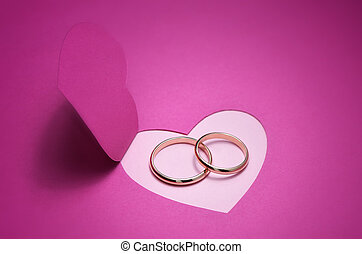 Wedding card with rings - Wedding background for design with...