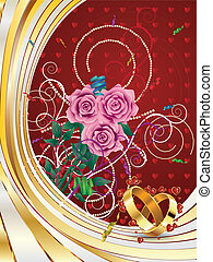 Wedding card with roses