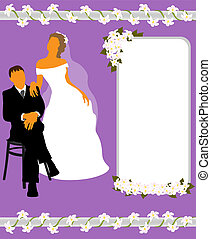 Wedding card with silhouettes