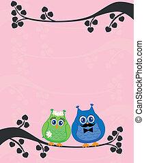 Wedding card with stwo owls