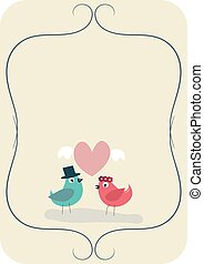 Wedding card with two birds