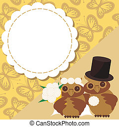 wedding card with two owls