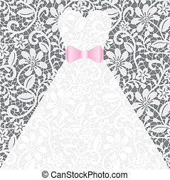 Wedding card with white dress