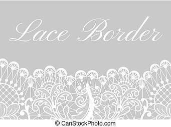 Wedding card with white lace border on gray background