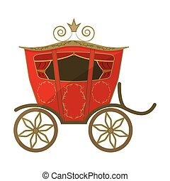 Wedding carriage. A carriage for the bride and groom. Wedding single icon in cartoon style vector symbol stock illustration.