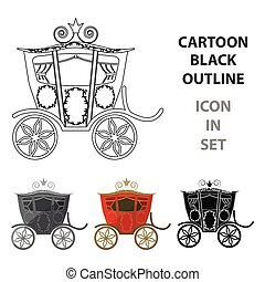 Wedding carriage. A carriage for the bride and groom.Wedding single icon in cartoon style vector symbol stock illustration.