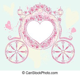 Wedding carriage heart shaped