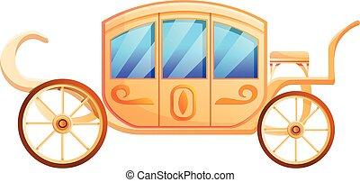 Wedding carriage icon, cartoon style