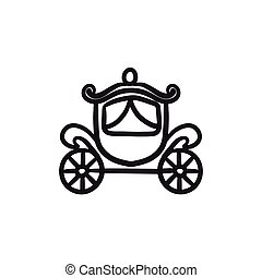 Wedding carriage sketch icon.