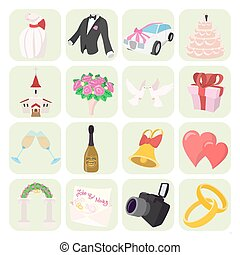 Wedding cartoon icons set