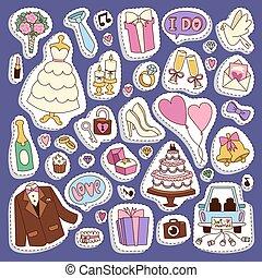 Wedding cartoon icons vector illustration.