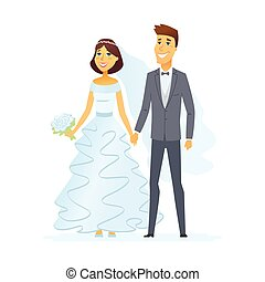 Wedding - cartoon people characters isolated illustration