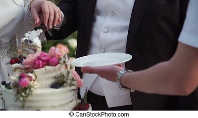 Wedding celebration cake with flowers