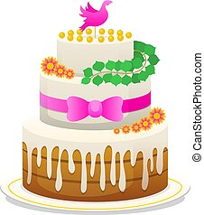 wedding celebratory cake with flowers, bow for the groom and the bride. sweet food for the newlyweds. a symbol of love of romance. vector illustration, greeting card.