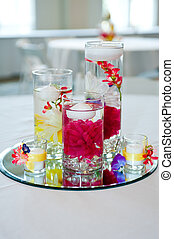 wedding centerpiece with floating candles and flowers