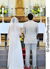 groom and bride - Wedding ceremonies in church. groom and...