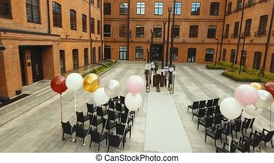 Wedding ceremony arch. - Aerial view Arch for the wedding...