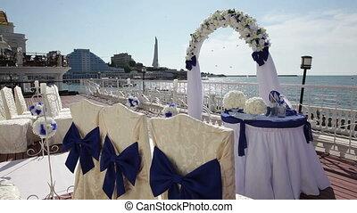 Wedding ceremony at sea.