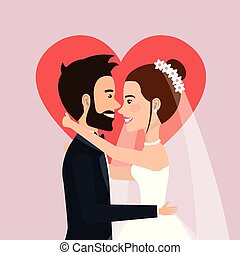 wedding ceremony bride and groom together with heart background