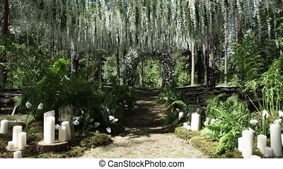 Wedding ceremony decoration outdoors shot