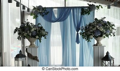 Wedding ceremony decoration indoors shot