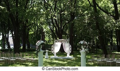 Wedding ceremony decoration in park