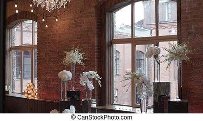 Wedding ceremony decoration indoors steadicam shot