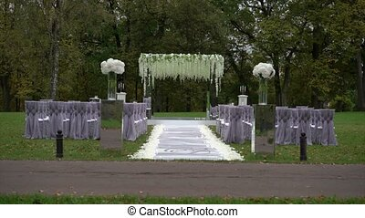 Wedding ceremony decoration outdoors