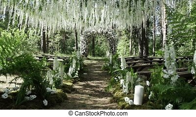 Wedding ceremony decoration outdoors shot