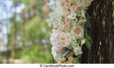 Wedding ceremony decoration outdoors at windy day