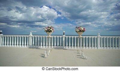 Wedding ceremony decoration near sea