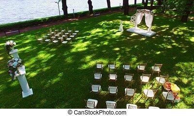 Wedding ceremony decoration in park