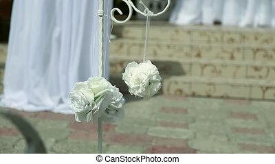 wedding ceremony, Flowers wedding arch background.
