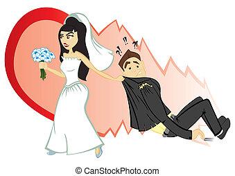 Wedding ceremony - Bride convince groom to become marriage
