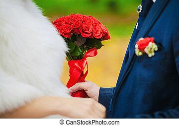Wedding ceremony in a beautiful garden