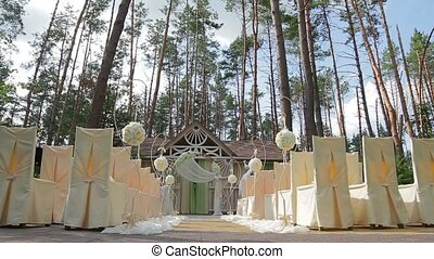 Wedding ceremony in the forest.