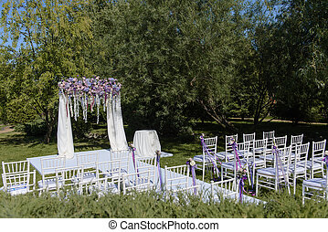 Wedding ceremony in white, violet, blue, pink colors...