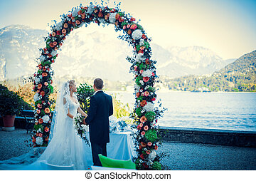 Wedding ceremony of young couple