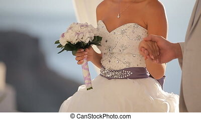 wedding ceremony on the island of Santorini