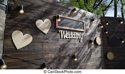 Wedding ceremony outdoors decorated with hearts