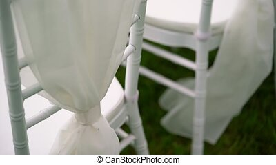 Wedding ceremony outdoors decoration at cloudy day
