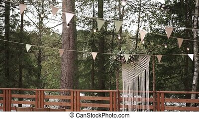 Wedding ceremony place outdoors in forest
