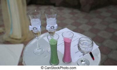 Wedding Ceremony Table - Wedding ceremony table with colored...