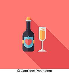 wedding champagne flat icon with long shadow, eps10