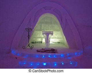 Wedding chapel in ice hotel - Illuminated wedding chapel in...