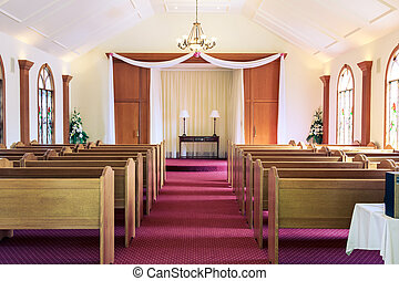 Inside of an empty wedding chapel shot in horizontal